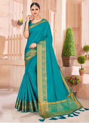 Silk Teal Weaving Contemporary Saree