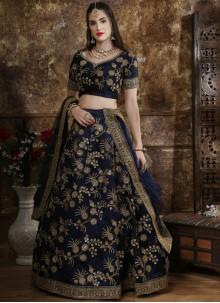 Silk Thread Work Navy Blue Designer Lehenga Choli