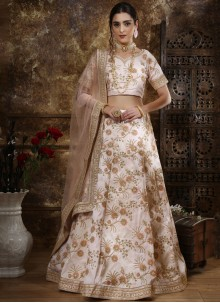 Silk Thread Work Off White Designer Lehenga Choli