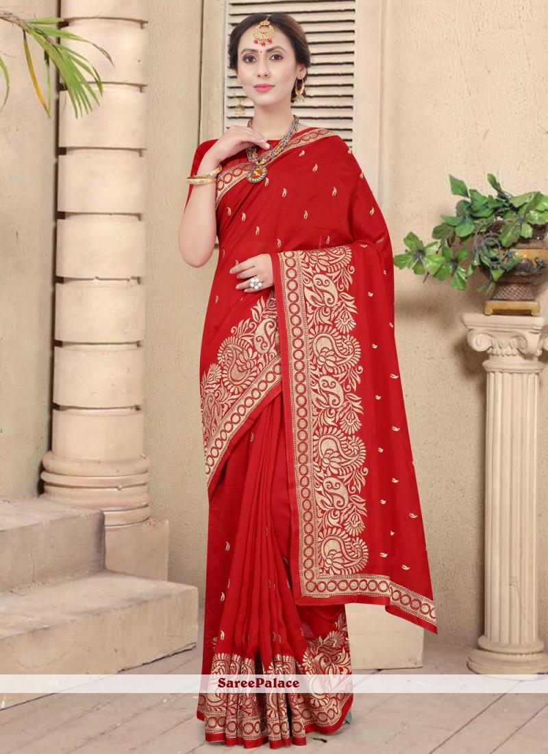 Silk Traditional Red Designer Saree