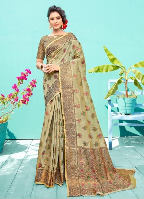 Sea Green Silk Traditional Designer Saree