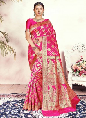 Silk Traditional Pink Designer Saree