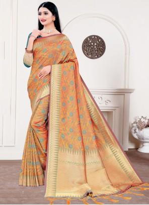 Orange Silk Woven Traditional Designer Saree