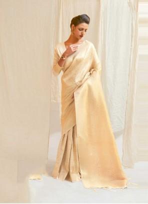 Cream Silk Traditional Designer Saree
