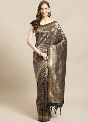 Silk Traditional Designer Saree in Black