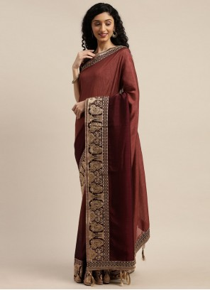 Silk Traditional Designer Saree in Maroon