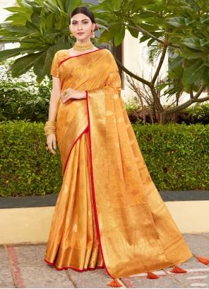 Silk Traditional Designer Saree in Orange