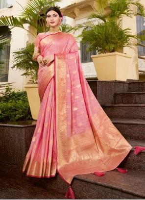 Silk Traditional Designer Saree in Pink