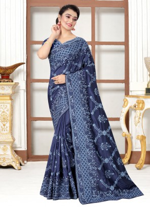 Silk Navy Blue Traditional Saree