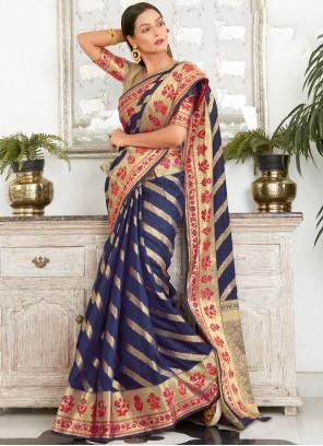 Blue Woven Work Silk Traditional Saree