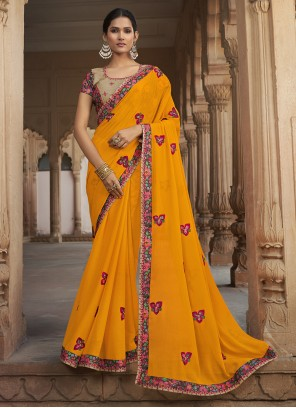 Yellow Silk Embroidered Traditional Saree