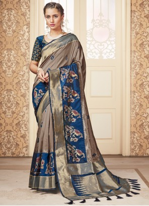 Silk Traditional Saree in Beige and Blue