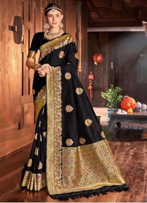 Silk Traditional Saree in Black