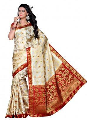 Silk Traditional Saree in Cream