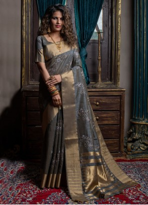 Silk Traditional Saree in Grey