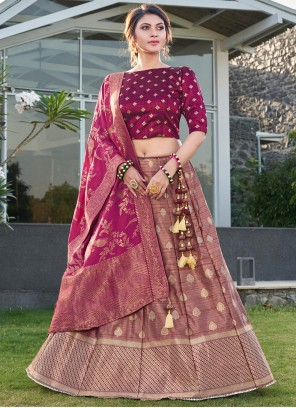Silk Trendy Lehenga Choli in Purple