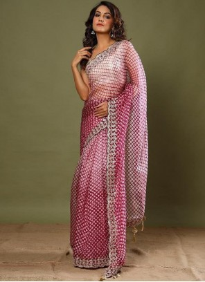Pink Border Work Silk Trendy Saree