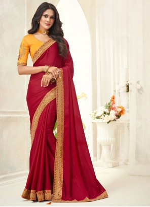 Red Silk Embroidered Trendy Saree