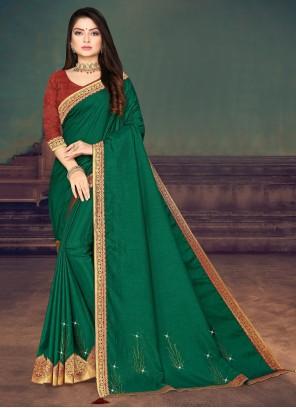 Silk Trendy Saree in Green