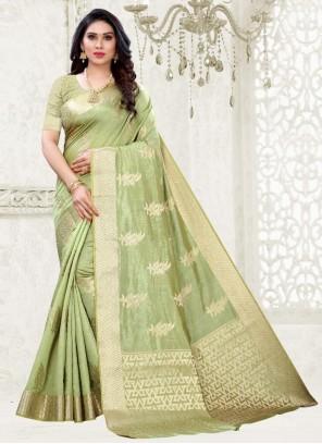 Silk Weaving Zari Work Trendy Saree in Green