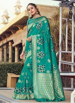 Silk Turquoise Designer Traditional Saree