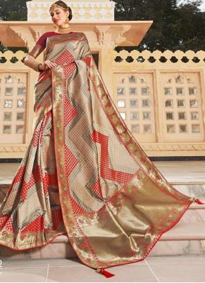 Silk Weaving Beige Traditional Saree