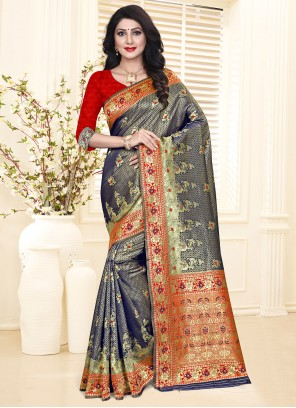 Silk Weaving Blue and Red Designer Traditional Saree