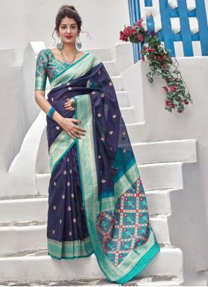 Silk Weaving Blue Contemporary Style Saree