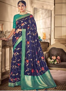 Silk Weaving Blue Silk Saree