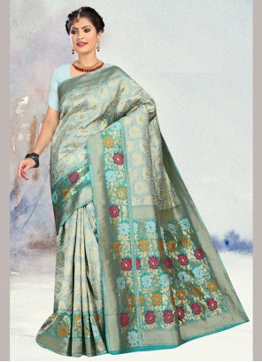 Silk Weaving Blue Traditional Saree
