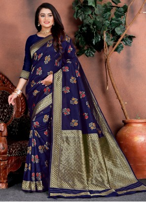Silk Weaving Blue Traditional Saree