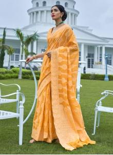 Silk Orange Weaving Bollywood Saree