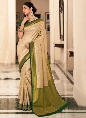 Cream Silk Weaving Bollywood Saree