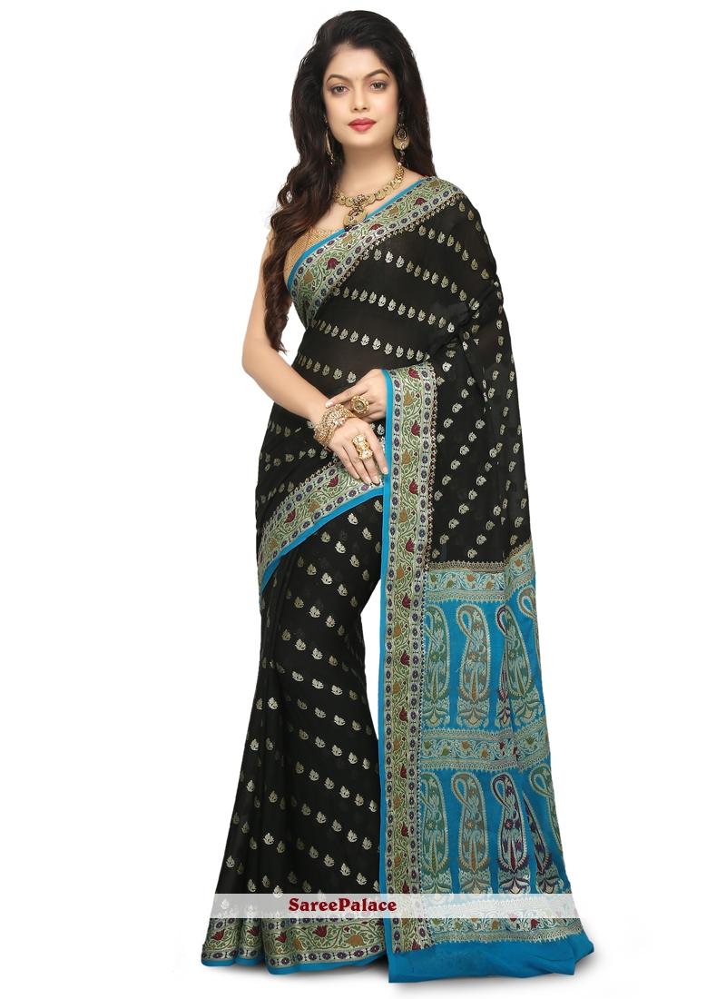 Silk Weaving Classic Designer Saree in Black