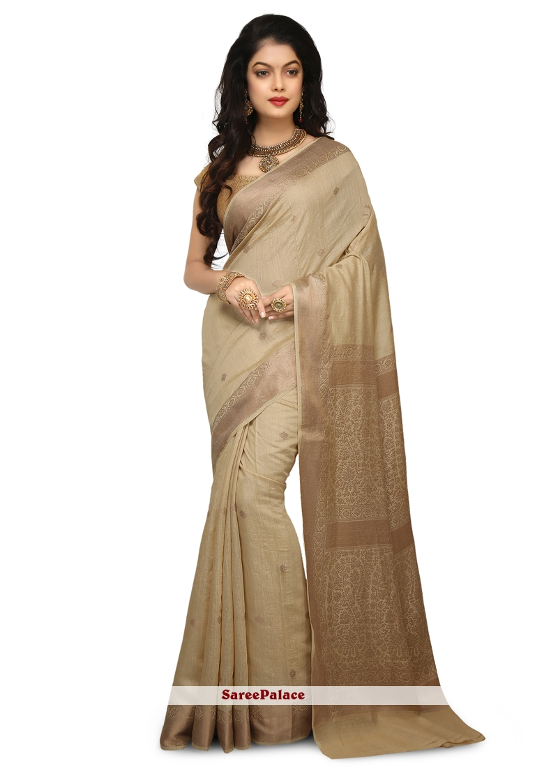 Silk Weaving Classic Designer Saree in Cream