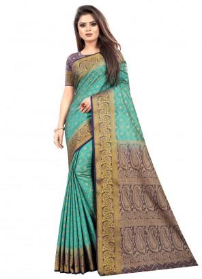 Silk Weaving Sea Green Classic Saree