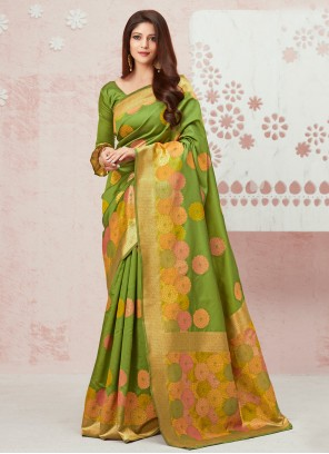 Silk Weaving Contemporary Saree in Green