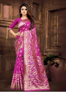 Silk Weaving Contemporary Saree in Purple