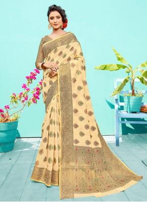 Silk Weaving Cream Designer Traditional Saree
