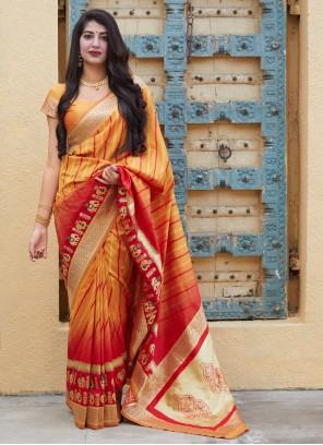 Yellow Silk Weaving Designer Contemporary Saree