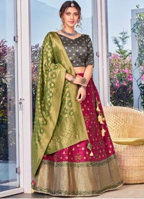 Silk Weaving Designer Lehenga Choli in Pink