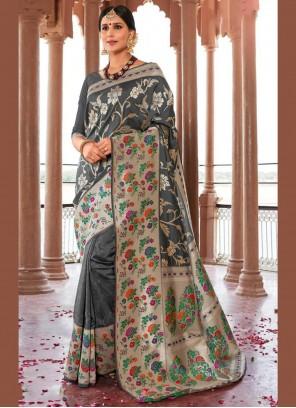 Silk Weaving Grey Designer Saree
