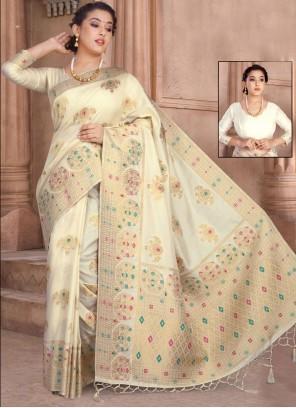 Silk Weaving Designer Saree in Off White