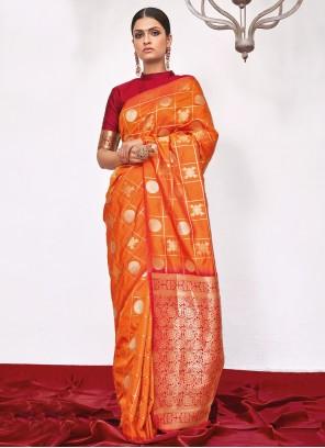 Silk Weaving Designer Saree in Orange