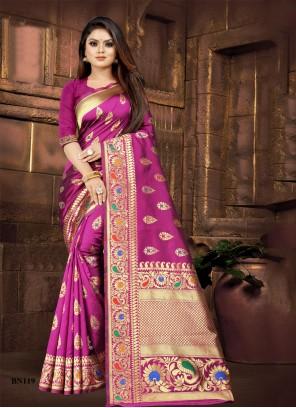Silk Weaving Designer Saree in Pink