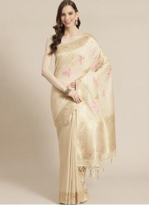 Silk Weaving Designer Cream Traditional Saree