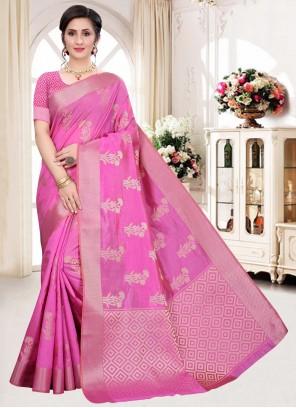 Silk Weaving Pink Designer Traditional Saree