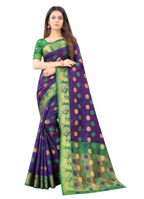 Blue Silk Weaving Work Traditional Saree