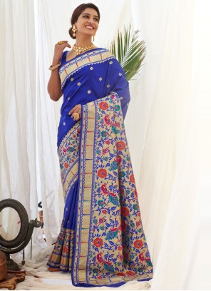 Silk Weaving Designer Traditional Saree in Blue