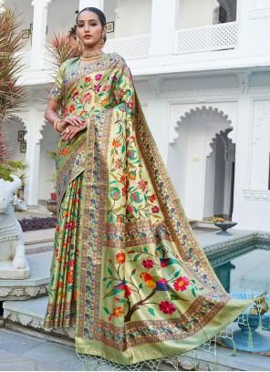 Silk Weaving Designer Traditional Saree in Green